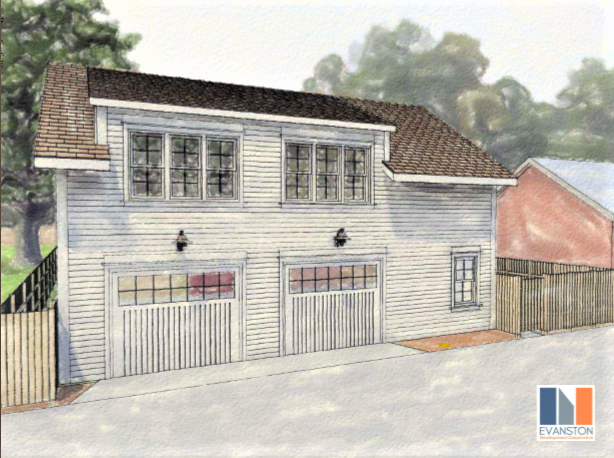 Rendering of small 2-story coach house. 2 garage doors on the first floor. 2 windows on the second floor. White siding and dark tile roof.