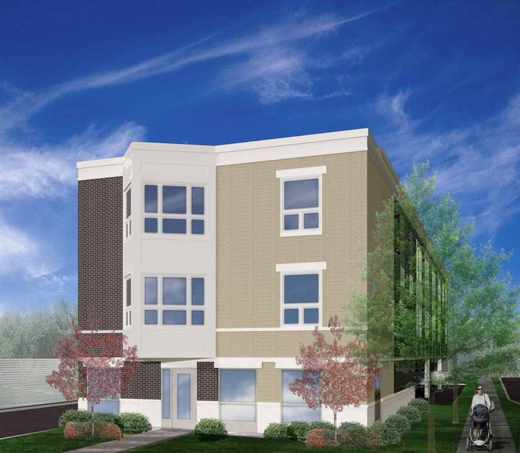 Three story apartment building with blue sky and flowering landscape.