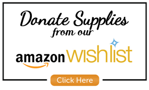 """Black box with white background. """"Donate Supplies from our Amazon Wishlist"""" with Amazon logo and small button that says """"Click Here"""""""